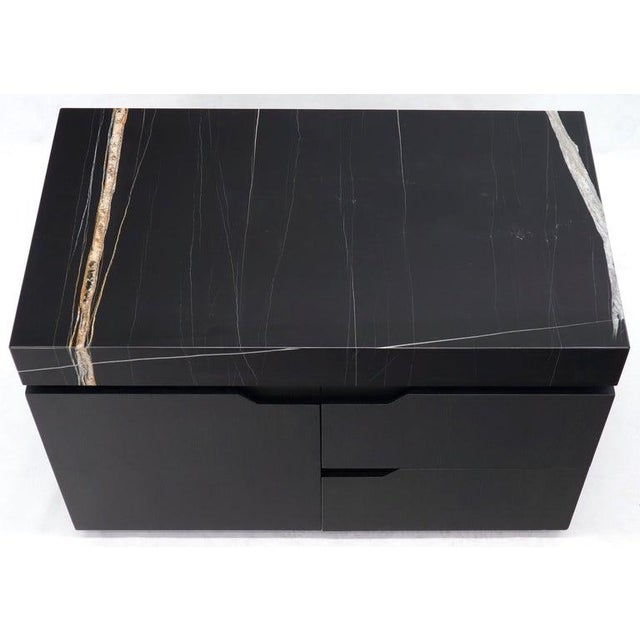 Contemporary black lacquer oak marble top short credenza stand cabinet small dresser.