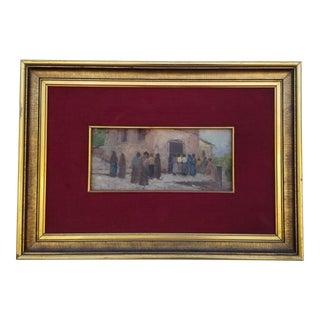 1970s Vintage Rural Scene Framed Painting For Sale