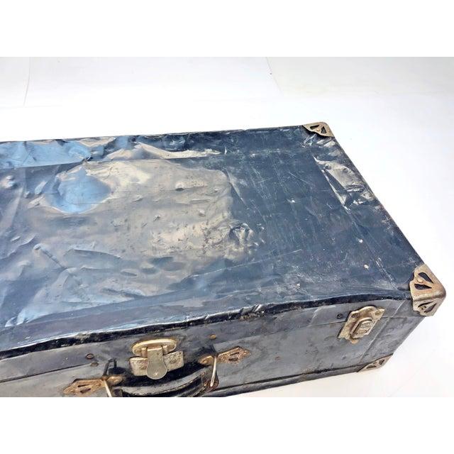 Vintage Distressed Black Metal Storage Trunk For Sale - Image 6 of 13