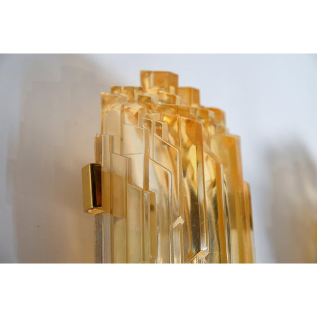 Brass 1970s Chic French Brutalist Glass Sconces - a Pair For Sale - Image 7 of 10