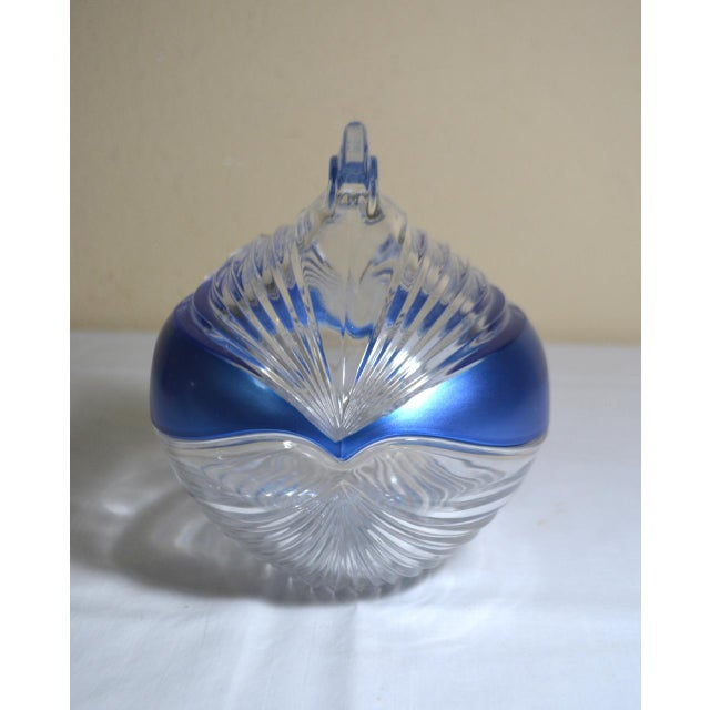 1980s Abstract Anna Hutte Modern Art Glass Bkeikristal Blue & Clear Glass Bowl For Sale - Image 11 of 11