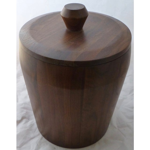 Mid-Century Modern Mid Century Modern Large Walnut Ice Bucket For Sale - Image 3 of 7