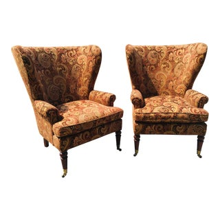 Pearson Regency Style Wing Back Chairs - a Pair For Sale