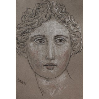 "Sarah Myers ""Classical Face"" Charcoal and Conte Drawing For Sale"