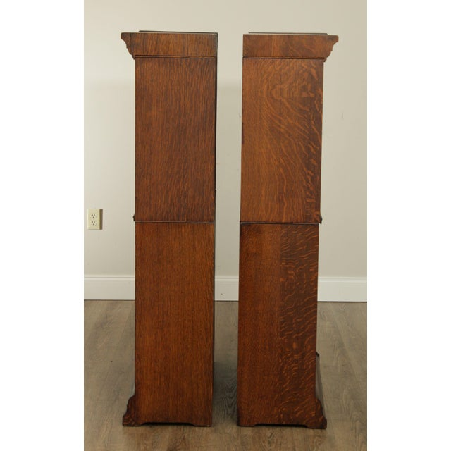 Danner Antique Oak Stacking Sliding Door Bookcases (B) - a Pair For Sale - Image 4 of 13