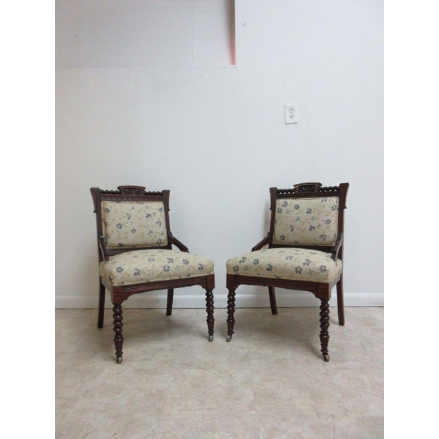 Antique Victorian Carved Walnut Lounge Chair For Sale - Image 10 of 10
