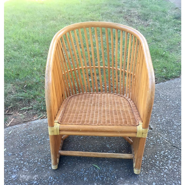 Vintage Rattan Barrel Chair - Image 3 of 11