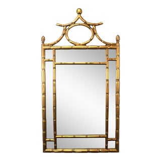 1973 Pagoda Top Faux Bamboo Mirror For Sale