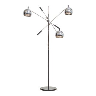 Vintage Mid Century Sonneman (Attr.) Triennale Three Orb Floor Lamp For Sale
