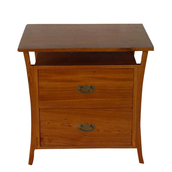 Asian Style Elm Wood Nightstands For Sale