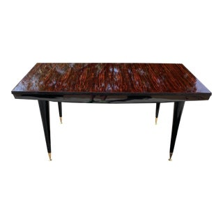 1940s Art Deco Macassar Ebony Writing Desk / Dining Table For Sale