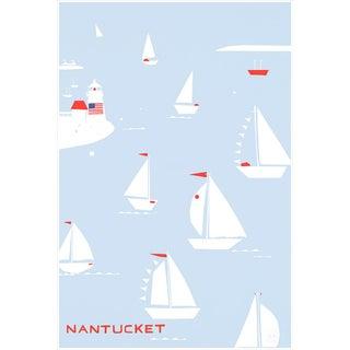 Nantucket Regatta Light Blue Fine Art Print by Liz Roache For Sale