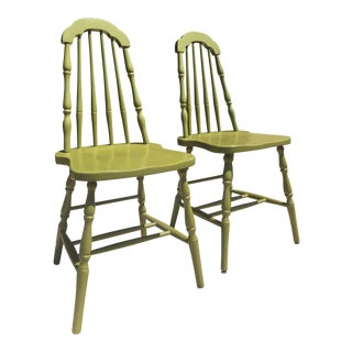 1930's Wood Taper Back Green Chairs - a Pair For Sale