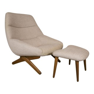 1960s Danish Lounge Chair and Ottoman by Illum Wikkelso For Sale