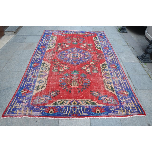 Turkish Oushak Floor Rug - 6′2″ × 9′11″ - Image 2 of 6
