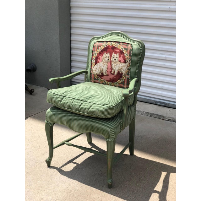 Painted Antique French chair with Gingham fabric and dog detailing. Perfect for a shabby chic home.
