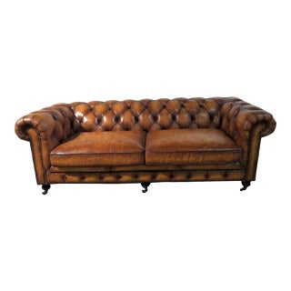Distressed Leather Chesterfield Sofa For Sale