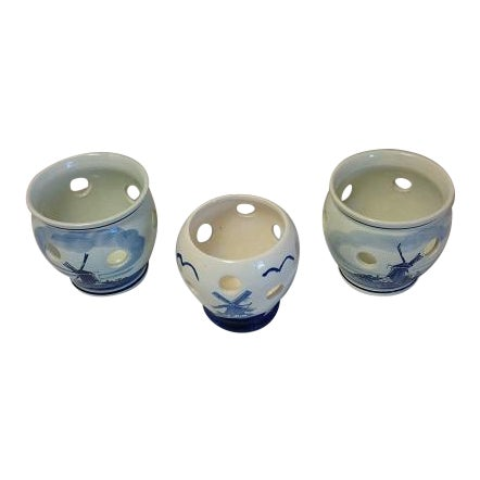Delft Blue Hand- Painted Holland Bulb Planters - Set of 3 - Image 1 of 7