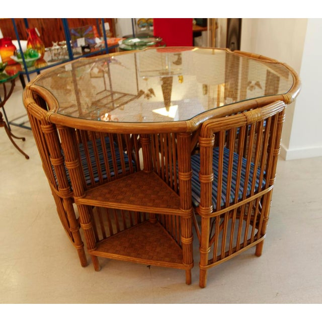 1960s Vintage Rattan Set of Table and Four Chairs For Sale - Image 5 of 6