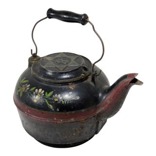 Large American Antique Cast Iron Stove Top Kettle For Sale