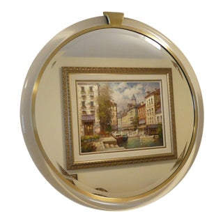 Mirror Image Home Modern Acrylic and Brass Round Mirror For Sale