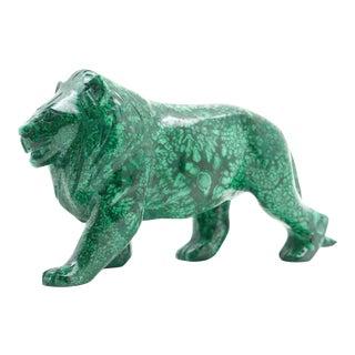 Large Malachite Lion Carving For Sale