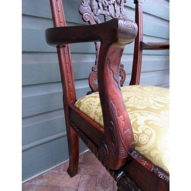 Set of Eight 20th Century English Chinese Chippendale Mahogany Dining Chairs For Sale - Image 5 of 10