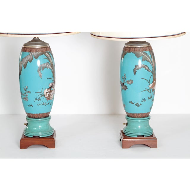 Pair 19th Century of French Cloisonne Lamps - Image 4 of 11