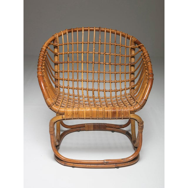 Mid-Century Modern Pair of Wicker Chairs by Tito Agnoli for Bonacina For Sale - Image 3 of 7