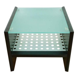 Mid Century Modern Style Glass and Wood End Table