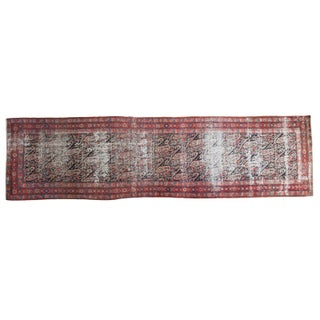 """Distressed Antique Paisley Malayer Rug Runner - 3'6"""" X 12'9"""" For Sale"""