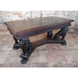 19th Century Library Table With Gorgeous Carved Lions Preview