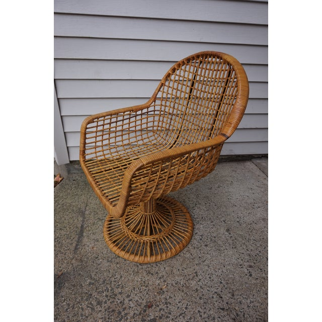 Franco Albini Era Bamboo Swivel Chair For Sale - Image 9 of 11