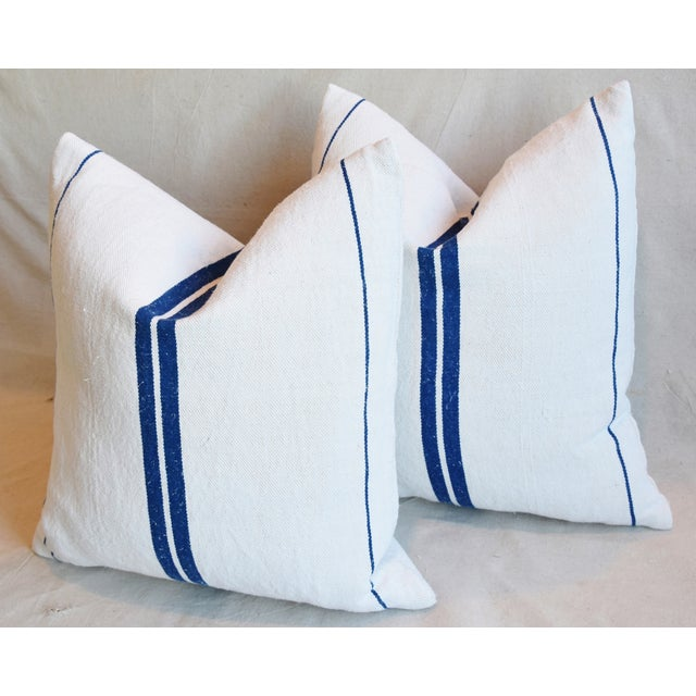 """Blue French Blue Striped Grain-Sack Feather/Down Pillows 20"""" Square- Pair For Sale - Image 8 of 11"""