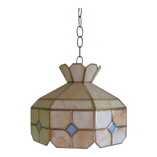 Vintage Mid-Century Modern Tiffany Style Yellow and Blue Stained Glass Lamp Light Fixture For Sale