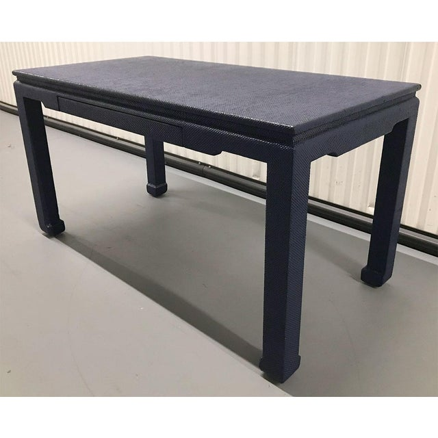 Striking raffia-covered ming style desk, c.1970s. Newly lacquered in glossy finish, brilliant indigo blue. (Close-up...