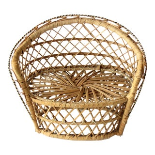 Vintage Rattan Plant Stand For Sale