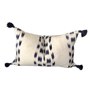 Custom Schumacher Izmir Striped Lumbar Pillow Cover With Navy Tassels For Sale