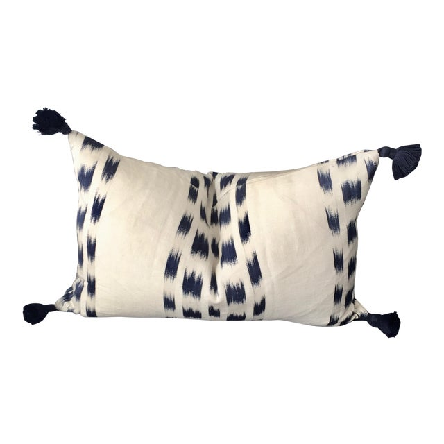 Custom Schumacher Izmir Striped Lumbar Pillow Cover With Navy Tassels For Sale