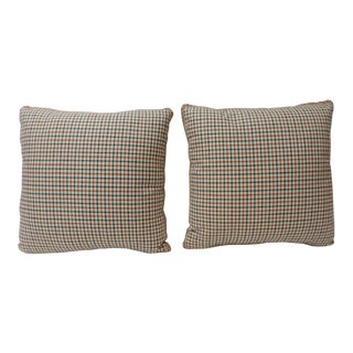 Pair of Vintage Plaid Linen French Pillows With Red and Blue For Sale