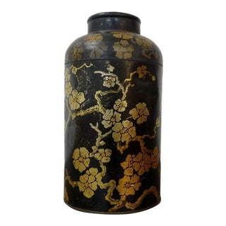 Antique Chinese Black & Gold Floral Tea Tin