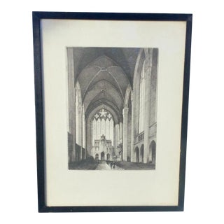 "Antique Richard Duffy ""Cathedral"" Etching For Sale"