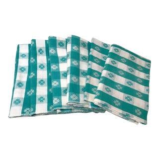 Vintage Green and White Checked Napkins - Set of 6 For Sale