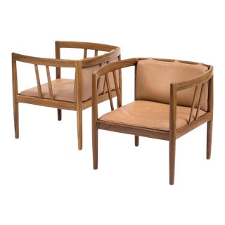 Pair of Elegant Rosewood and Leather Lounge Chairs by Illum Wikkelso, 1960s For Sale