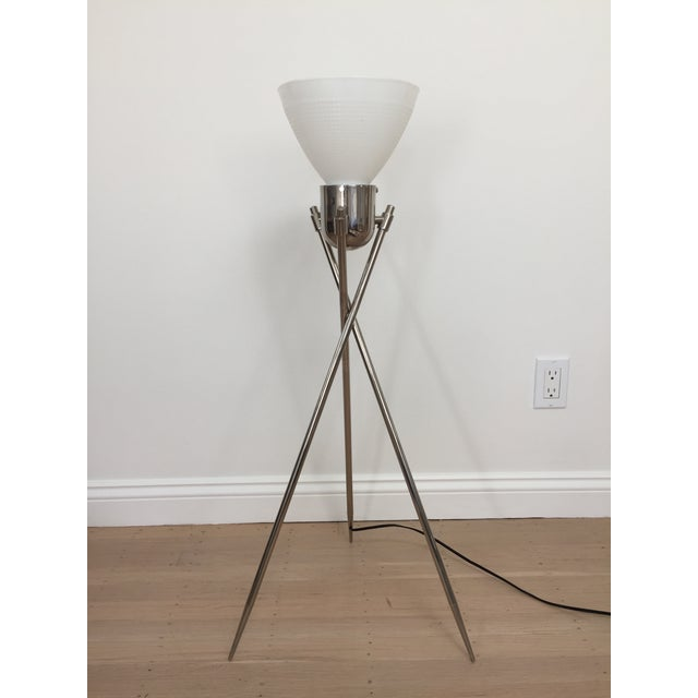 Italian modern tripod table lamp by La Relco. The height of the lamp from the bottom of the legs to the top of the glass...