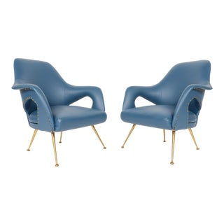 Italian Modern Zanuso Style Lounge Chairs - A Pair For Sale