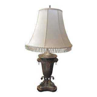 Late 20th Century Trophy Lamp & Silk and Fringe Shade For Sale