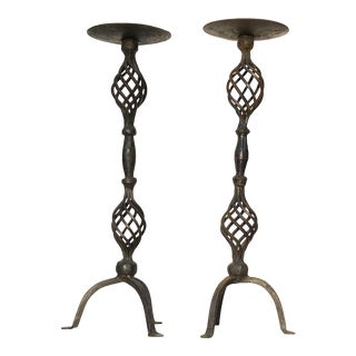 Vintage Brutalist Wrought Iron Tall Candlesticks For Sale