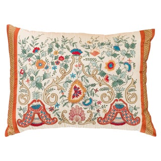 Embroidered Silk Arabesque Pillow For Sale