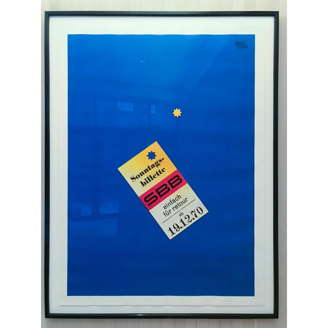 "Artist Herbert Leupin. ""Sonntags billette SBB (Sunday Tickets are 1/2 Price)"". 1970. High quality professional framing in..."